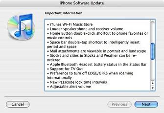 iPhone firmware software update 1.1.1