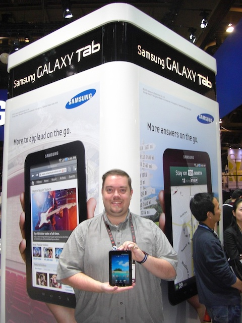 Chris Rauschnot and Samsung Galaxy Tab CES 2011