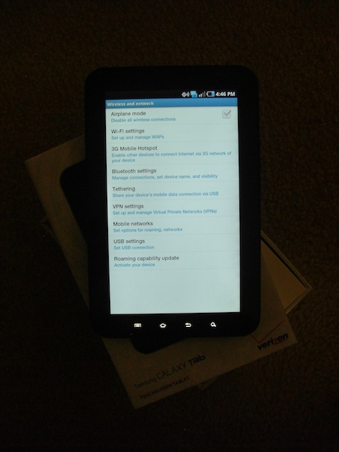 Samsung Galaxy Tab Wireless Network Screen