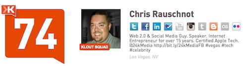 Chris Rauschnot @24k Twitter Klout Score 8-15-11