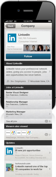 LinkedIn iPhone Companies Screen