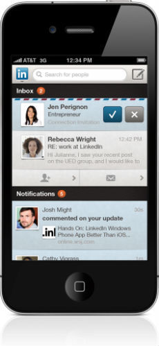 LinkedIn iPhone Notification Center