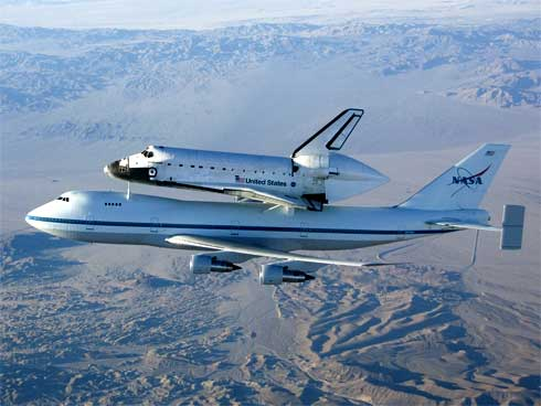 Space Shuttle Endeavour on 747 flying