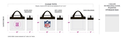 NFL All Clear Tote Bag Sizes