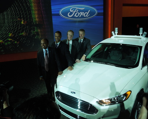Raj Nair from Ford with the Ford Fusion Hybrid Research Vehicle