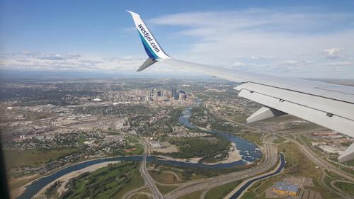 Westjet Landing In Calgary YYC Canada