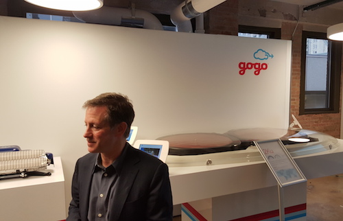 Gogo CEO Michael Small With 2Ku Satellite Antennas