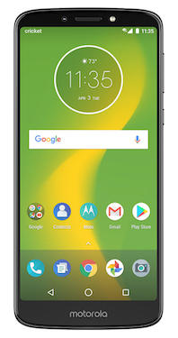 Moto e5 Supra Cricket Wireless Smartphone Front